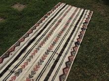 White striped Boho Runner Kilim Rug - bosphorusrugs  - 6
