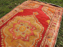 3x6 ft. Red and Orange Wool Turkish Area Rug - bosphorusrugs  - 4