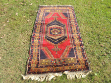 Navy and Red color Vintage Turkish Area rug - bosphorusrugs  - 2