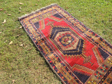 Navy and Red color Vintage Turkish Area rug - bosphorusrugs  - 3