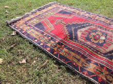 Navy and Red color Vintage Turkish Area rug - bosphorusrugs  - 4