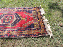 Navy and Red color Vintage Turkish Area rug - bosphorusrugs  - 5