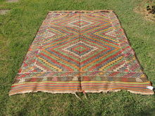 6x8 ft. Wool Turkish Kilim rug with Lovely Colors - bosphorusrugs  - 2