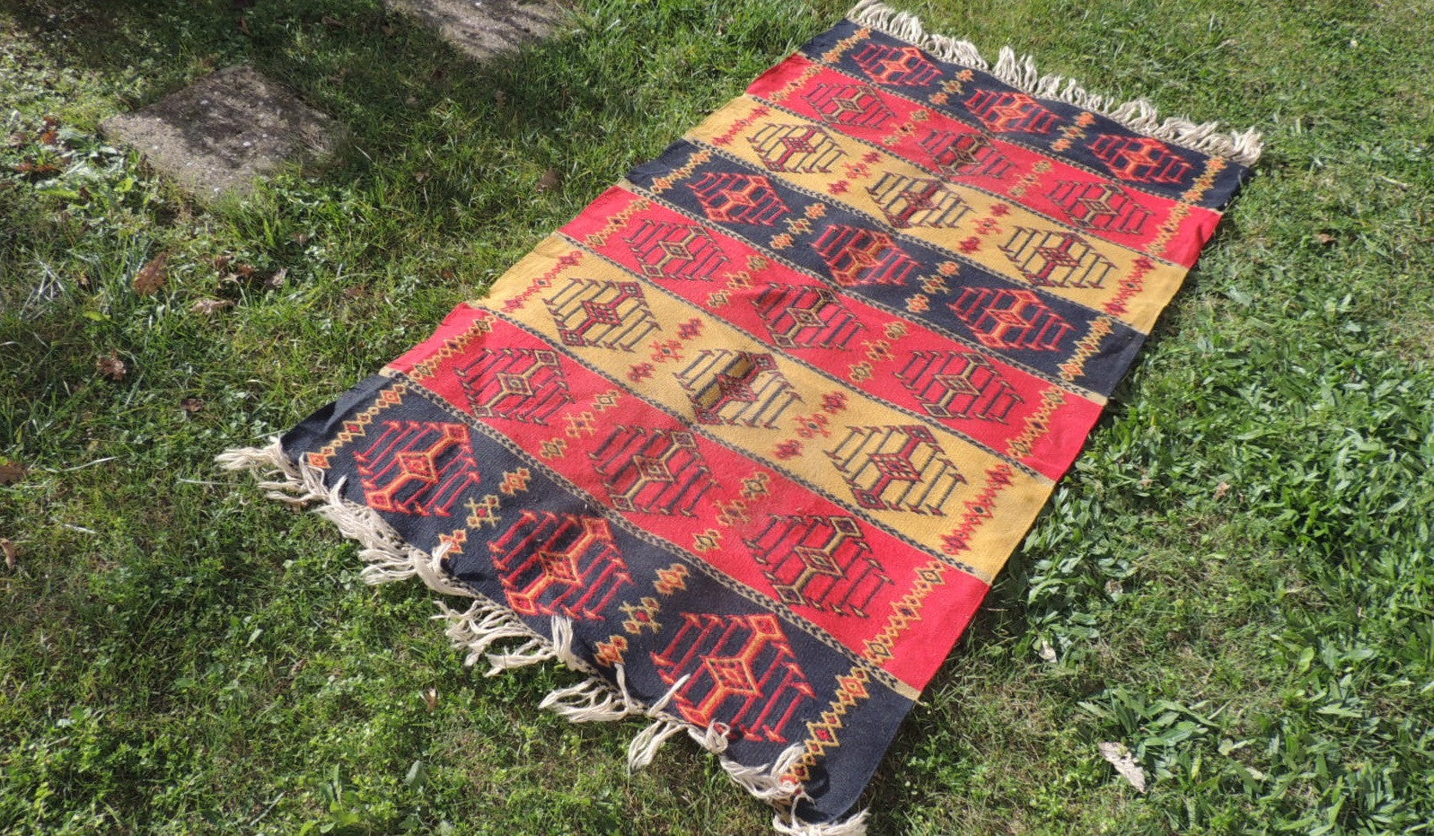 Colorful Bohemian Turkish Kilim Rug - bosphorusrugs  - 1