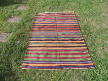 Striped Bohemian Turkish Kilim Rug - bosphorusrugs  - 2