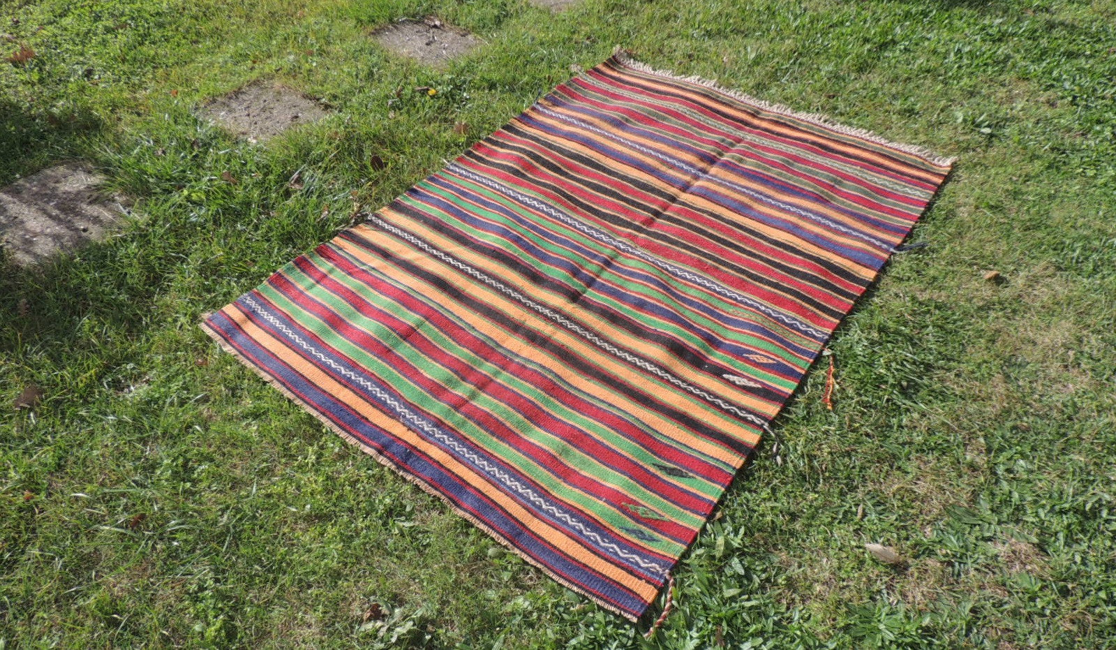 Striped Bohemian Turkish Kilim Rug - bosphorusrugs  - 1