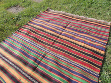 Striped Bohemian Turkish Kilim Rug - bosphorusrugs  - 4