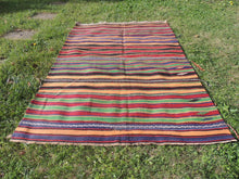 Striped Bohemian Turkish Kilim Rug - bosphorusrugs  - 5
