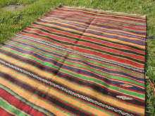 Striped Bohemian Turkish Kilim Rug - bosphorusrugs  - 6