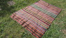 Bohemian Striped Turkish Kilim Rug - bosphorusrugs  - 1