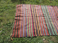 Bohemian Striped Turkish Kilim Rug - bosphorusrugs  - 3