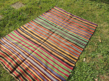 Bohemian Striped Turkish Kilim Rug - bosphorusrugs  - 4
