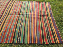 Bohemian Striped Turkish Kilim Rug - bosphorusrugs  - 6