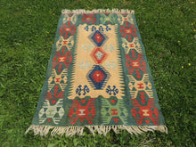 Green Turkish kilim rug - bosphorusrugs  - 2