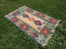 Green Turkish kilim rug - bosphorusrugs  - 4