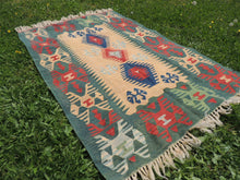 Green Turkish kilim rug - bosphorusrugs  - 5