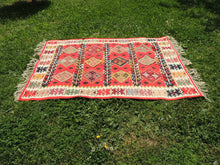 Red Balkan kilim rug - bosphorusrugs  - 4