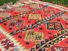 Red Balkan kilim rug - bosphorusrugs  - 9