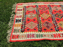 Red Balkan kilim rug - bosphorusrugs  - 7