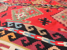 Red Balkan kilim rug - bosphorusrugs  - 10