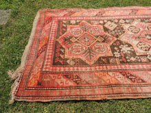 Semi Antique Caucasian Runner Rug with Star Design