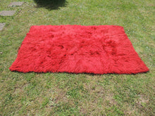Vintage Red Shaggy Turkish Kilim Rug Tulu Shepherd Bed - bosphorusrugs  - 3