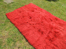 Vintage Red Shaggy Turkish Kilim Rug Tulu Shepherd Bed - bosphorusrugs  - 4