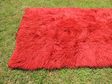 Vintage Red Shaggy Turkish Kilim Rug Tulu Shepherd Bed - bosphorusrugs  - 5