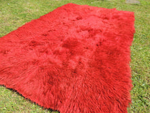 Vintage Red Shaggy Turkish Kilim Rug Tulu Shepherd Bed - bosphorusrugs  - 6