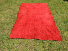 Vintage Red Shaggy Turkish Kilim Rug Tulu - bosphorusrugs  - 2