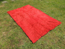 Vintage Red Shaggy Turkish Kilim Rug Tulu - bosphorusrugs  - 3