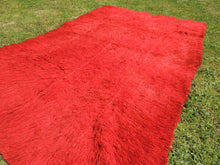 Vintage Red Shaggy Turkish Kilim Rug Tulu - bosphorusrugs  - 4