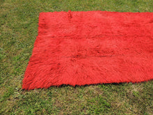 Vintage Red Shaggy Turkish Kilim Rug Tulu - bosphorusrugs  - 6