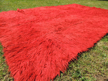 Vintage Red Shaggy Turkish Kilim Rug Tulu - bosphorusrugs  - 7