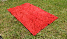 Vintage Red Shaggy Turkish Kilim Rug Tulu - bosphorusrugs  - 1