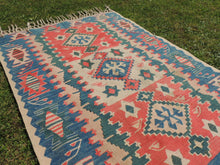 Blue and Red Lovely Smyrna Kilim Rug