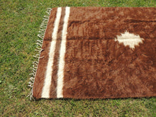 Undyed Shaggy Turkish kilim rug with Goat Hair Siirt Blanket