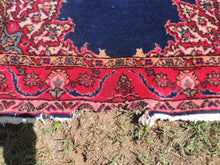 70's Area Rug with Medallion Center Red and Navy colors