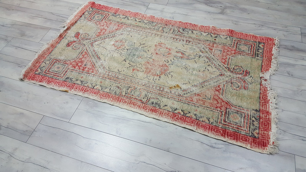 Distressed Worn Turkish Antique Area Rug Grunge Decor Carpet
