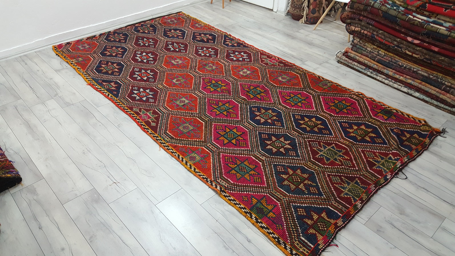 Embroidered Turkish Mut Kilim Rugs