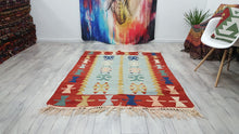 Euphoric Kilim Rug Red Borders Turquoise Colours