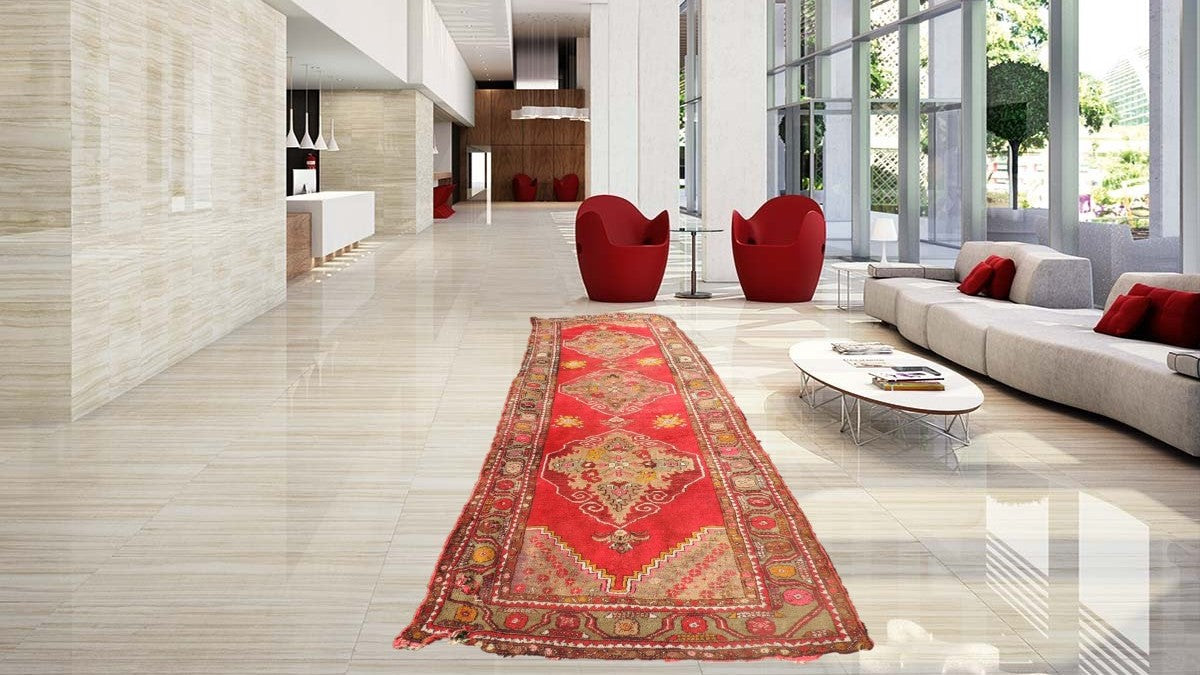 3x11 ft. Red Turkish Runner Rug Wool on Cotton