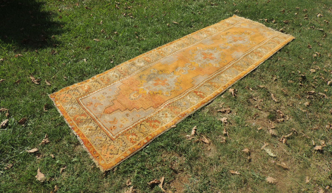 3x10 ft. Gold Color Vintage Turkish Runner Rug - bosphorusrugs  - 1