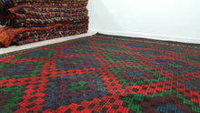 Green and Red Vintage Kilim Rug Chritmas Colours