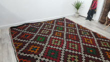 Gypsy Style Kilim Rug Colorful Patterns