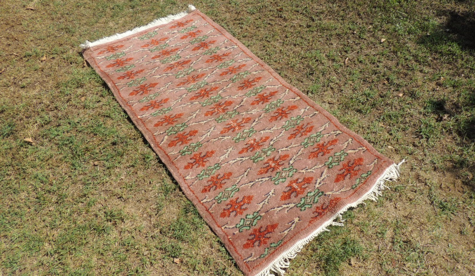 70's Wool on Cotton Decorative Turkish Area Rug