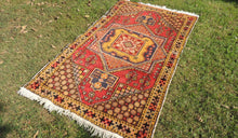 "4x6 ft. Vintage Colorful Turkish area rug ""Star"" - bosphorusrugs  - 1"