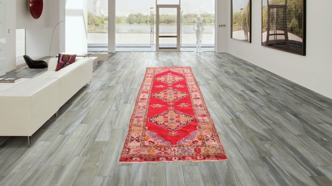Vintage red Turkish runner carpet