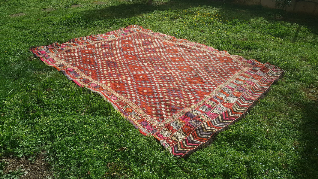Oversized Turkish Kilim Rug 7x11 ft. Large Kilim