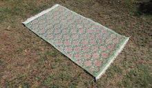 Mint Area Rug with Vintage Flower Patterns